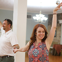 Tammy Wilson, dance director at The Dance Studio in Tupelo, leads Jesse Bandre in a dance as they prepare for the upcoming Dancing Like the Stars Competition Thursday afternoon at The Dance Studio in Tupelo.