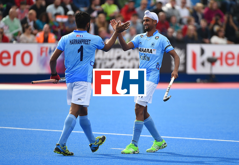 LONDON, ENGLAND - JUNE 11:  Harmanpreet Singh of India celebrates his goal with Mandeep Singh during day two of the FIH Men's Hero Hockey Champions Trophy 2016 match between India and Great Britain at Queen Elizabeth Olympic Park on June 11, 2016 in London, England.  (Photo by Tom Dulat/Getty Images)