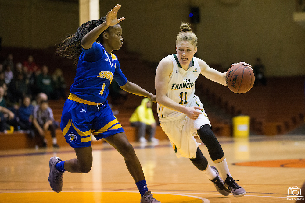 San Francisco Lady Dons guard Rachel Howard (11) attacks the basket against the San Jose State Spartans at Kezar Pavilion in San Francisco, Calif., on December 6, 2016. (Stan Olszewski/Special to S.F. Examiner)