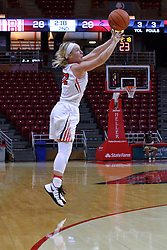 01 January 2017: Taylor Stewart during an NCAA Missouri Valley Conference Women's Basketball game between Illinois State University Redbirds the Braves of Bradley at Redbird Arena in Normal Illinois.