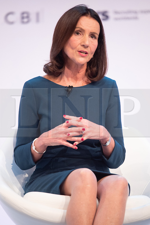 © Licensed to London News Pictures. 19/11/2018. London, UK. CAROLYN FAIRBAIRN, Director General of the CBI makes a keynote speech at the Confederation of British Industry (CBI) conference, held at Intercontinental Hotel. Photo credit: Ray Tang/LNP