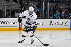Nov 7, 2011; San Jose, CA, USA; Los Angeles Kings center Anze Kopitar (11) warms up before the game against the San Jose Sharks at HP Pavilion.  San Jose defeated Los Angeles 4-2. Mandatory Credit: Jason O. Watson-US PRESSWIRE