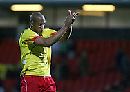 London - Tuesday, March 4th, 2008: Dion Dublin of Norwich City celebrates at the end against Watford during the Coca Cola Champrionship match at Vicarage Road, London. (Pic by Chris Ratcliffe/Focus Images)