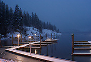 Ice begins to form on Lake Coeur D Alene on a winter night in Coeur D Alene Idaho PLEASE CONTACT US FOR DIGITAL DOWNLOAD AND PRICING.