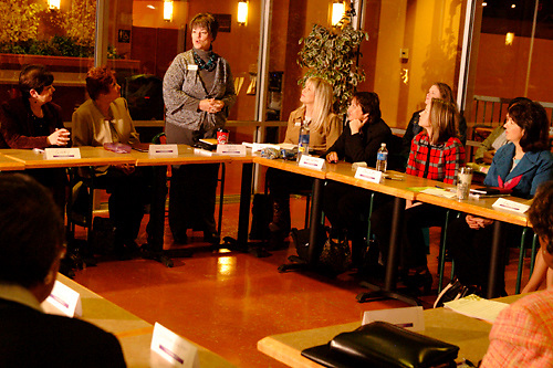 Debra Ghysels of Debra's Designs (standing) during the Women in Business Networking 'Hot Topics' Koffee Talk at the Dorothy Lane Market in Springboro, Friday, March 4, 2011.