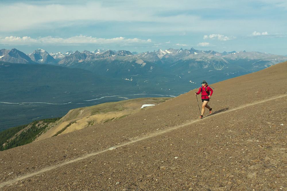 Andrea Hanley Trail Running on Skyline Trail in Jasper National Park