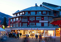 People line up outside to enjoy the Grand Opening of the House of Switzerland in Whistler for the 2010 Winter Olympic Games.