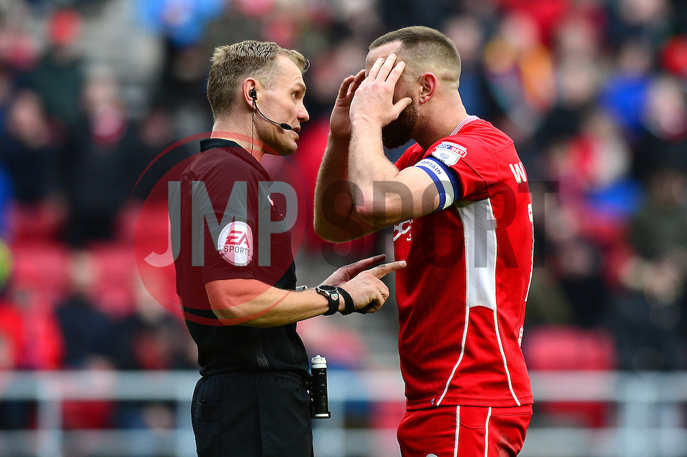 Aaron Wilbraham of Bristol City speaks to the referee as his goal is disallowed - Mandatory by-line: Dougie Allward/JMP - 04/03/2017 - FOOTBALL - Ashton Gate - Bristol, England - Bristol City v Burton Albion - Sky Bet Championship