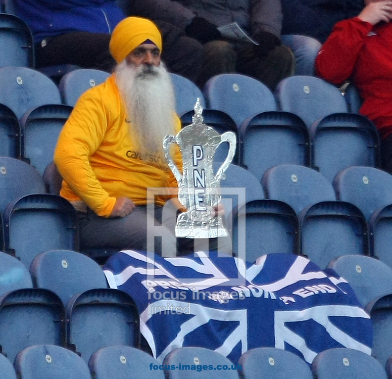 A Preston fan and his home made FA Cup during the FA Cup match at Deepdale, Preston<br /> Picture by Paul Chesterton/Focus Images Ltd +44 7904 640267<br /> 03/01/2015