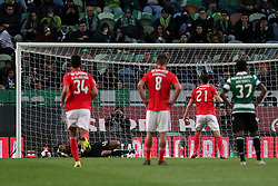 February 3, 2019 - Lisbon, Portugal - Benfica's Portuguese midfielder Pizzi shoots to score a penalty during the Portuguese League football match Sporting CP vs SL Benfica at Alvalade stadium in Lisbon, Portugal on February 3, 2019. (Credit Image: © Pedro Fiuza/ZUMA Wire)