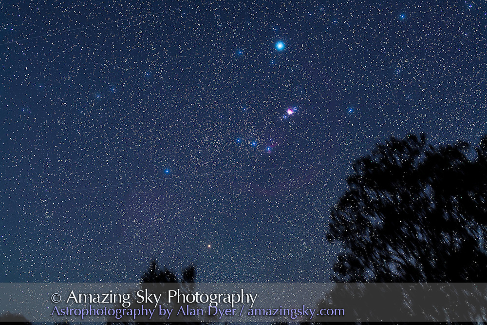 Orion rising in evening twilight, from Coonabarbran, Australia; December 2012. A single tracked 2 minute exposure at f/2.8 with 50mm lens and Canon 5D MkII at ISO 800. 3 satellites are in the field. Light haze added glows around stars.