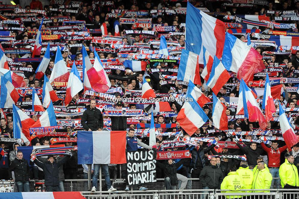 Hommage Charlie Hebdo - 11.01.2015 - Lyon / Toulouse - 20eme journee de Ligue 1<br />Photo : Jean Paul Thomas / Icon Sport