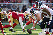 San Francisco 49ers defensive end DeForest Buckner (99) waits for a play at the line of scrimmage against the Houston Texans at Levi's Stadium in Santa Clara, Calif., on August 14, 2016. (Stan Olszewski/Special to S.F. Examiner)