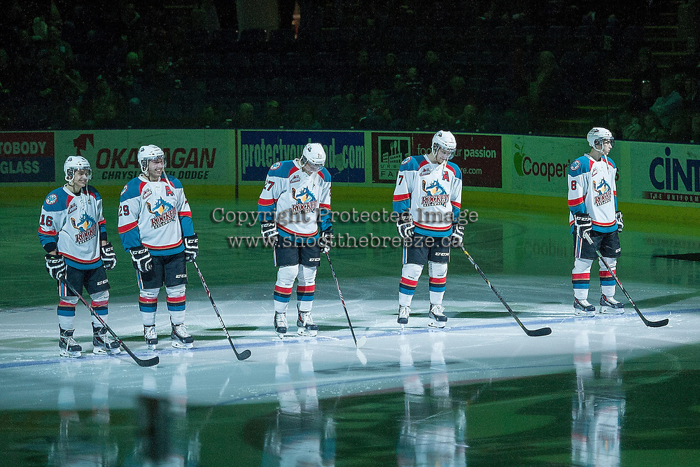 KELOWNA, CANADA -FEBRUARY 5: Kris Schmidli #16, Myles Bell #29, Ryan Olsen #27, Damon Severson #7 and Cole Martin #8 of the Kelowna Rockets make up the starting line up against the Red Deer Rebels on February 5, 2014 at Prospera Place in Kelowna, British Columbia, Canada.   (Photo by Marissa Baecker/Getty Images)  *** Local Caption *** Kris Schmidli; Myles Bell; Ryan Olsen; Damon Severson; Cole Martin; Colten Martin;