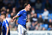 Chesterfield defender Sid Nelson (35) celebrates scoring a goal making it 1-0 during the EFL Sky Bet League 2 match between Chesterfield and Notts County at the b2net stadium, Chesterfield, England on 25 March 2018. Picture by Jon Hobley.