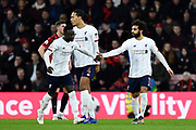Goal - Naby Keïta (8) of Liverpool celebrates scores a goal to give a 0-2 with Mohamed Salah (11) of Liverpool during the Premier League match between Bournemouth and Liverpool at the Vitality Stadium, Bournemouth, England on 7 December 2019.