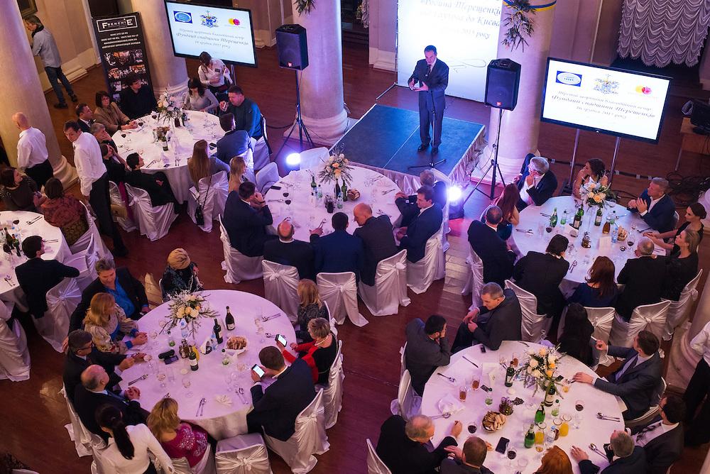 Discours de Michel Terestchenko lors d'un gala /vente aux ench&egrave;res organis&eacute;e &agrave; Kiev pour recueillir des fonds pour le d&eacute;veloppement de la ville, le 16 decembre 2015.<br /> <br /> Michel Terestchenko speaks to attendees of a dinner at a charity gala to benefit Hlukhiv on December 16, 2015. The gala featured a concert, dinner, auction and raffle, but did not raise as much money as last year.