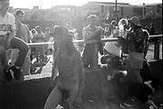 Naked protestor, Reclaim the Streets London, Shepherd's Bush, July 1996