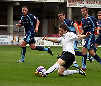 Photo: Mark Stephenson.<br /> Hereford United v Brentford. Coca Cola League 2. 06/10/2007.Hereford's Ben Smith trys a shot