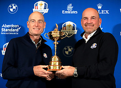USA captain Jim Furyk (left) and European captain Thomas Bjorn (right) hold the Ryder Cup during a media event ahead of the 2018 Ryder Cup at The Hotel Pullman Paris Eiffel Tower, Paris.