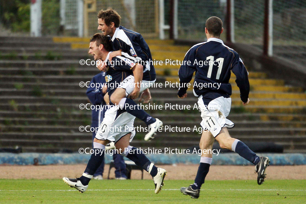 Dundee v St Johnstone....03.11.07<br /> Bob Davidson celebrates his goal with Gavin Swankie<br /> Picture by Graeme Hart.<br /> Copyright Perthshire Picture Agency<br /> Tel: 01738 623350  Mobile: 07990 594431
