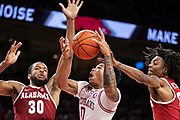 FAYETTEVILLE, AR - MARCH 9:  Desi Sills #0 of the Arkansas Razorbacks goes up for a shot against Galin Smith #30 of the Alabama Crimson Tide at Bud Walton Arena on March 9, 2019 in Fayetteville, Arkansas.  The Razorbacks defeated the Crimson Tide 82-70.  (Photo by Wesley Hitt/Getty Images) *** Local Caption *** Desi Sills; Galin Smith