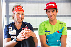 Klemen Bauer and Zan Košir during official presentation of the outfits of the Slovenian Ski Teams before new season 2016/17, on October 18, 2016 in Planica, Slovenia. Photo by Vid Ponikvar / Sportida