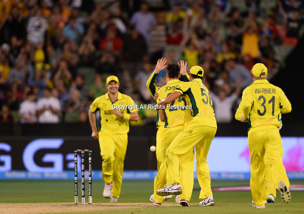 Mitchell Johnson (AUS) gets the wicket of Steven Finn (ENG)<br /> Australia vs England / Match 2<br /> 2015 ICC Cricket World Cup / Pool A<br /> MCG / Melbourne Cricket Ground <br /> Melbourne Victoria Australia<br /> Saturday 14 February 2015<br /> &copy; Sport the library / Jeff Crow