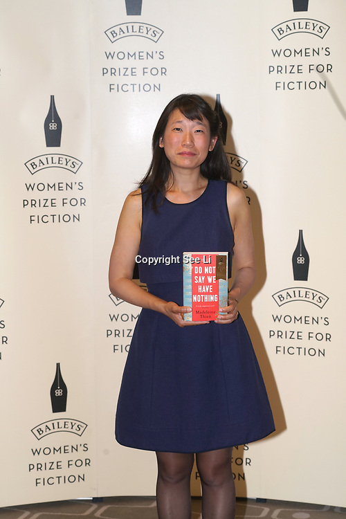 London,UK. 7th June 2017. Madeleine Thien attends a photocall The Baileys Prize for Women's Fiction Awards 2017 at the The Royal Festival Hall, Southbank Centre. by See Li