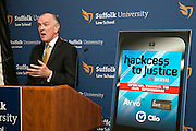 """This is Jim Sandman at the """"Hackness to Justice 2014 Hackathon"""" session at the 2014 annual meeting of the American Bar Association in Boston at Suffolk University Law School.  photo by Kathy Anderson"""