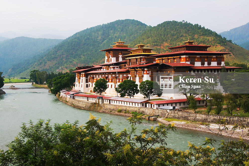 Punakha Dzong at the convergence of two rivers, Punakha, Bhutan