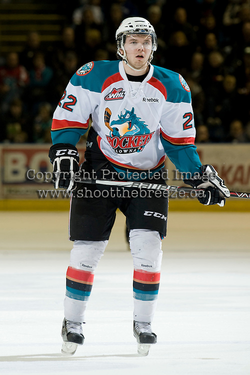 KELOWNA, CANADA, JANUARY 25: Mackenzie Johnston #22 of the Kelowna Rockets skates on the ice as the Kamloops Blazers visit the Kelowna Rockets on January 25, 2012 at Prospera Place in Kelowna, British Columbia, Canada (Photo by Marissa Baecker/Getty Images) *** Local Caption ***