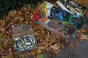 Oil colour paints belonging to a member of the Dulwich Art Group who is painting an autumn landscape on Denmark Hill, on 2nd October 2017, in the south London borough of Lambeth, England.
