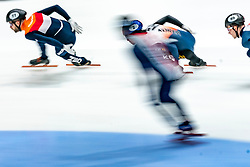 Daan Breeuwsma in action on the 5000 meter relay during ISU World Cup Finals Shorttrack 2020 on February 14, 2020 in Optisport Sportboulevard Dordrecht.