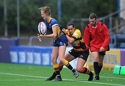 Vicky Laflin of Worcester Valkyries is challenged by Alicia McComish of Richmond Women - Mandatory by-line: Nizaam Jones/JMP - 22/09/2018 - RUGBY - Sixways Stadium - Worcester, England - Worcester Valkyries v Richmond Women - Tyrrells Premier 15s