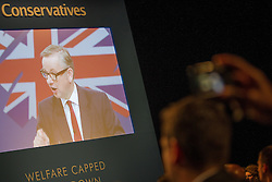 © Licensed to London News Pictures . 01/10/2013 . Manchester , UK . The Education Secretary , MICHAEL GOVE , addresses the conference this afternoon (Tuesday 1st October 2013) . Day 3 of the Conservative Party Conference 2013 at Manchester Central . Photo credit : Joel Goodman/LNP