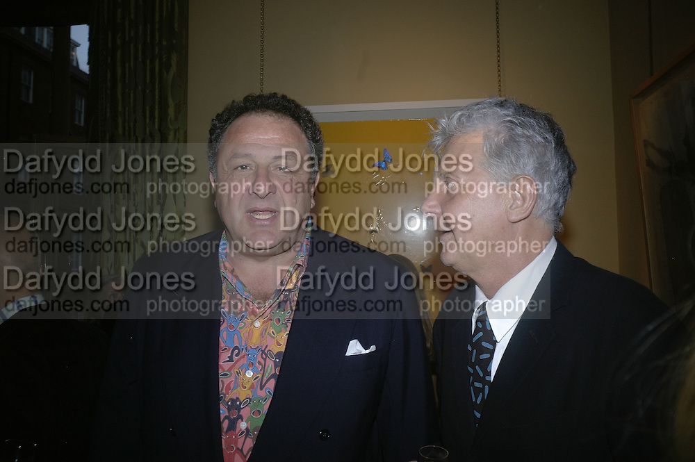 Jean Pigozzi and Andre Magnin, Party for Jean Pigozzi hosted by Ivor Braka to thank him for the loan exhibition 'Popular Painting' from Kinshasa'  at Tate Modern. Cadogan sq. London. 29 May 2007.  -DO NOT ARCHIVE-© Copyright Photograph by Dafydd Jones. 248 Clapham Rd. London SW9 0PZ. Tel 0207 820 0771. www.dafjones.com.