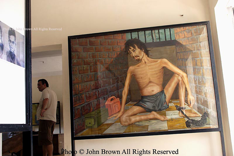 A painting by Vann Nath, a prisoner himself, depicts a fellow inmate in a cell used by Pol Pot's Khmer Rouge regime to confine prisoners at The Tuol Sleng Genocide Museum in Phnom Penh Cambodia.