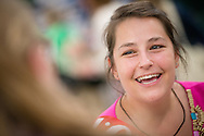 Deaconess Katie Ziegler, a missionary in the Dominican Republic, chats with participants at the 36th Biennial Convention of the Lutheran Women's Missionary League on Friday, June 26, 2015, at the Iowa Events Center in Des Moines, Iowa. LCMS Communications/Erik M. Lunsford