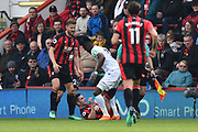 Wilfried Zaha (11) of Crystal Palace tangles with Lewis Cook (16) of AFC Bournemouth during the Premier League match between Bournemouth and Crystal Palace at the Vitality Stadium, Bournemouth, England on 7 April 2018. Picture by Graham Hunt.