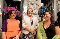 Tara , Margaret, Siobhan Mulleary from Cavan  at Hotel Meyrick in Eyre Sq. Galway for their best dressed Lady Competition during Galway's Race week . Photo:Andrew Downes