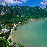 Karst towers and bungalows of Rai Leh Beach viewed from above, Rae Leh Beach, Thailand