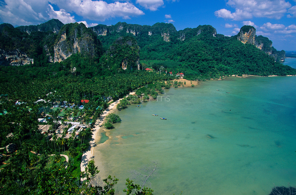 Karst towers and bungalows of Rai Leh Beach viewed from above, Rae Leh Beach, Thailand