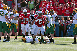 16 October 2010: Eric Brunner show some jubilation after sacking Jose Mohler during a game where the North Dakota State Bison lost to the Illinois State Redbirds 34-24, meeting at Hancock Stadium on the campus of Illinois State University in Normal Illinois.