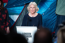 Camilla Parker Bowles, Duchess of Cornwall, speaks during the Bethany Williams fashion show, held at the BFC venue at 180 Strand, as part of London Fashion Week A/W 2019. The Duchess was presenting the Queen Elizabeth II Award for Design. Picture date: Tuesday February 19, 2018. Photo credit should read: Matt Crossick/Empics