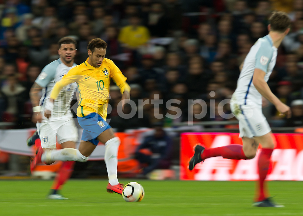 Neymar of Brazil in action during the International Friendly match between England and Brazil at Wembley Stadium, London, England on 14 November 2017. Photo by Vince Mignott.