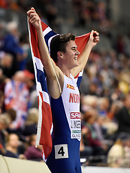 Norway's Jakob Ingebrigtsen celebrates winning the Men's 3000m during day two of the European Indoor Athletics Championships at the Emirates Arena, Glasgow.