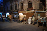A market in Old Delhi after dark