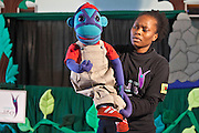 Kitty Moepang with Mac the Monkey during rehearsals for 'No Monkey Business', an AREPP: Theatre for Life production providing interactive social life skills education to schoolchildren through theatre productions. They are based in Johannesburg, South Africa and are about to go on tour for 3 months doing performances everyday at schools across the country.