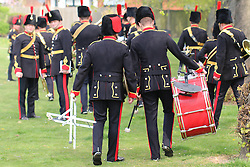 © Licensed to London News Pictures. 24/04/2015.  The King's Troop Royal Horse Artillery were joined by the Royal Artillery Band today for a Musical Drive rehearsal in preparation for their annual inspection next week. The rehearsal took place in Charlton Park, south east London, close to the barracks of the King's Troop RHA in Woolwich. Credit : Rob Powell/LNP